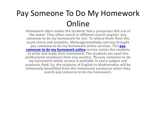 Homework for pay