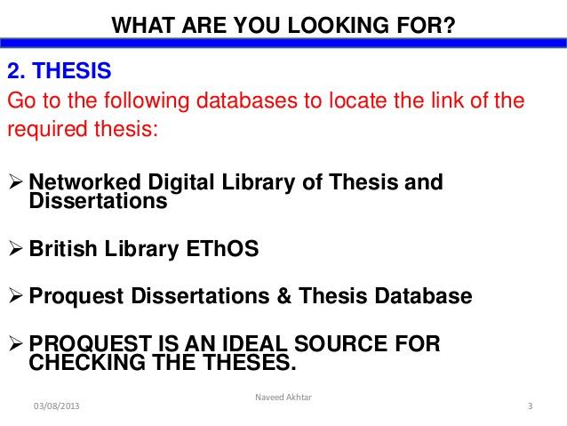 Writing dissertation database